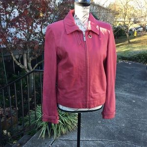 Cole Haan Pink Leather Moto Jacket / Size M